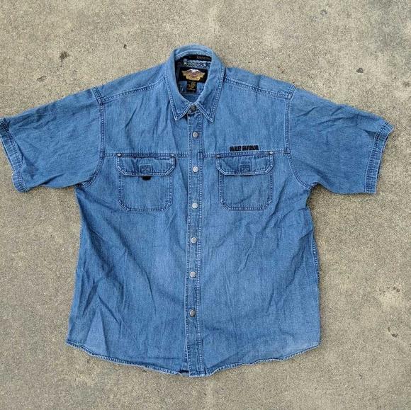 Harley-Davidson Other - Harley Davidson Men's Button Up Denim Shirt XL